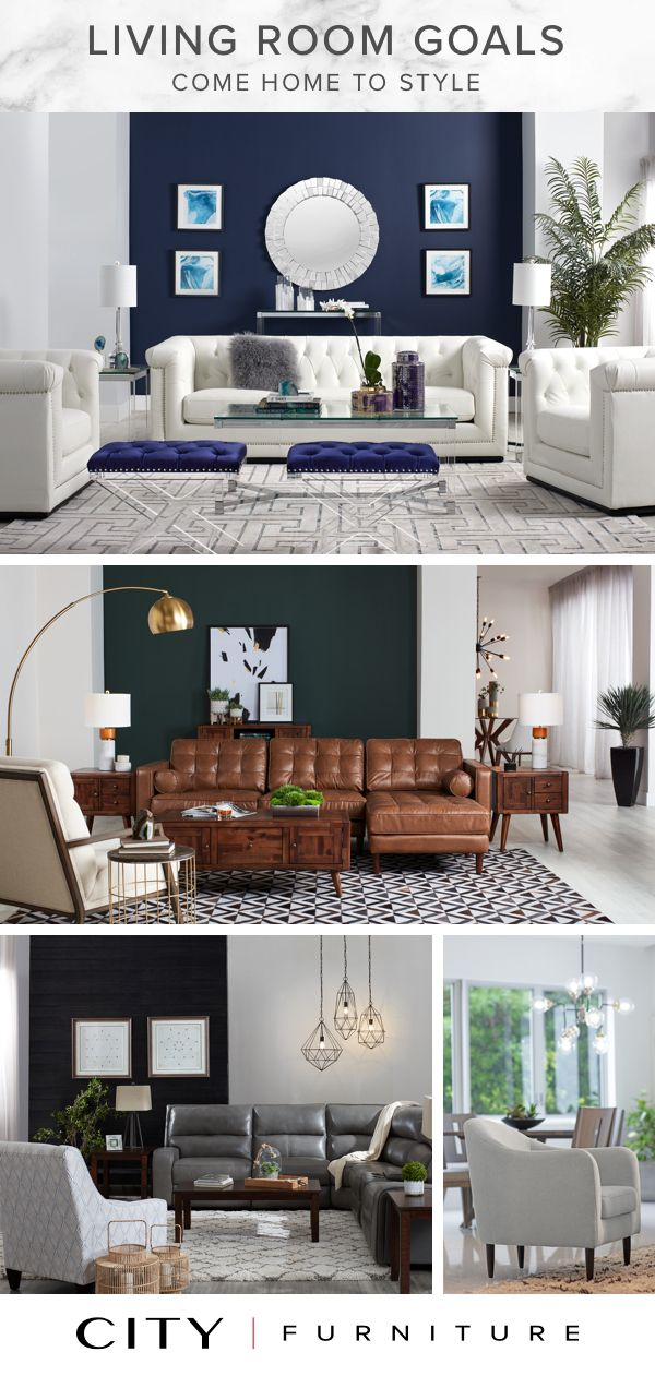 Achieve Your Living Room Goals It S All About Starting With A Statement Piece Of Furniture And The Living Room Sets Furniture City Furniture Lamps Living Room