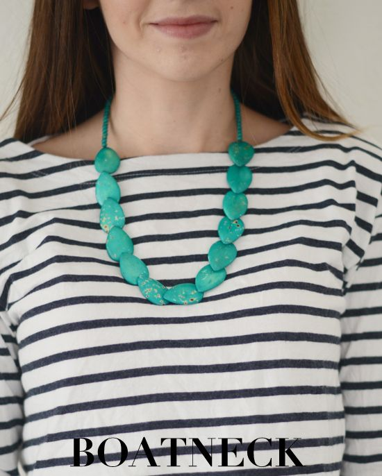 The best necklaces for a boatneck neckline are chunky, long ones. This particular one only has one strand, but styles with several strands a...: