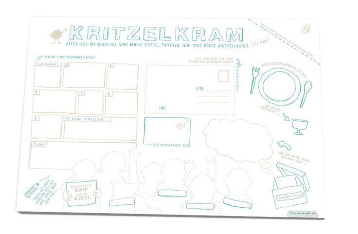 Malbücher - Kritzelblock Schreibtischunterlage Malblock A3 - ein Designerstück von Eine-der-Guten-Illustration bei DaWanda