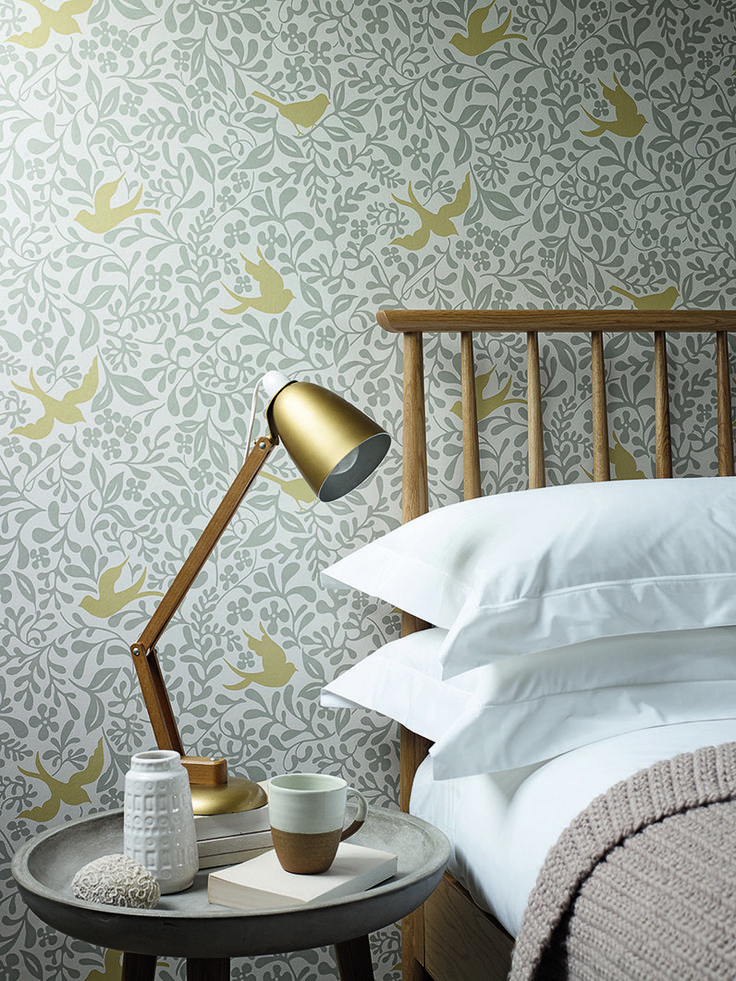 Beautiful Larksong wallpaper design by Sanderson.