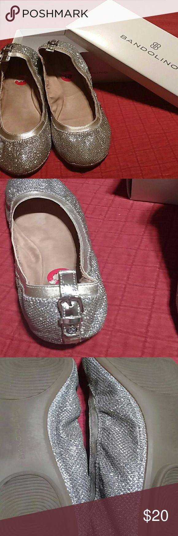 Shoe's Silver ballet flats with gold trim and buckle design on back Bandolino Shoes Flats & Loafers