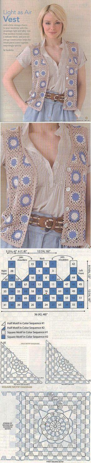 Colete com quadrados de crochê. Vem com explicação.