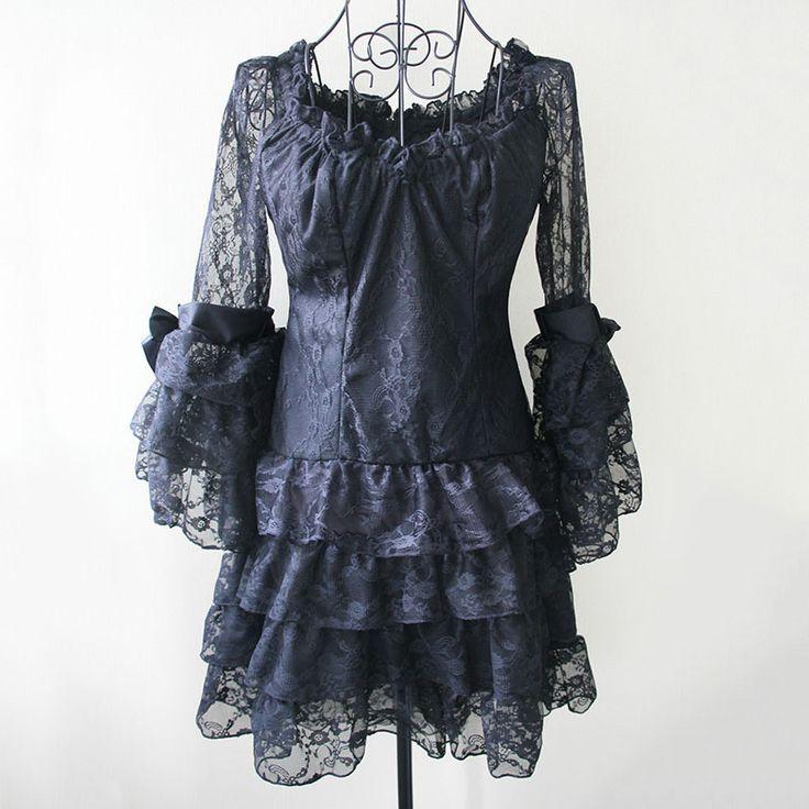 Nero Pizzo Floreale Slash Neck Manica Abiti Sexy Gothic Victorian Steampunk Dress Plus Size (Corrispondenza Corsetto Burlesque Costumi)(China (Mainland))