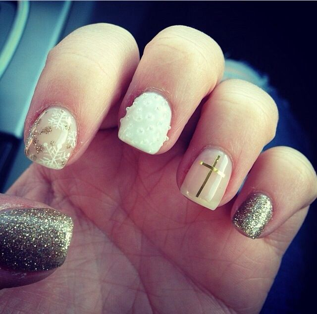 82 best gel nails images on pinterest gel nails holiday nail art foil gel polish nail art cross snowflakes prinsesfo Image collections