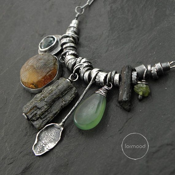 Amber green & black tourmaline nephrite emerald by studioformood