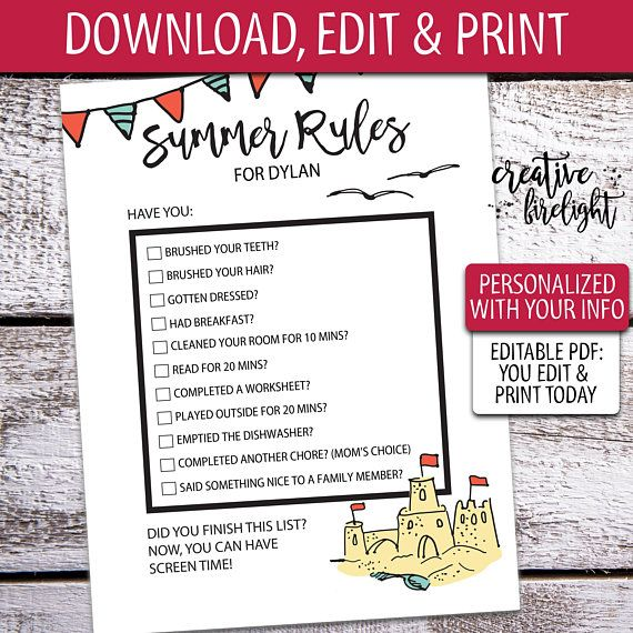 picture relating to Summer Rules Printable titled Edit Print Summer months Suggestions Editable PDF Printable Display screen