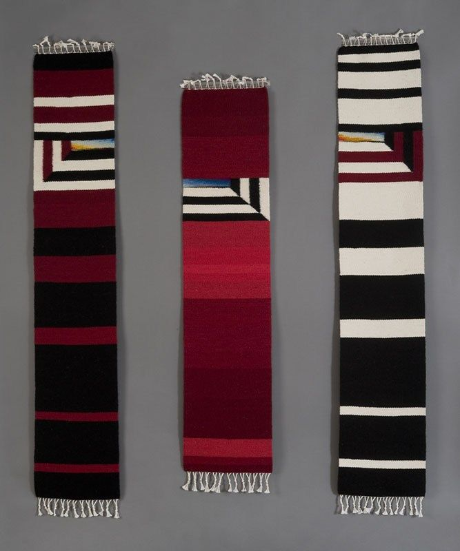 Black, Red and White Skinnies, Original handwoven tapestry by Donna Loraine Contractor, Skinny Runner One (Left) 50″ x 9″, Skinny Runner Two (Middle) 42″ x 9″, Skinny Runner Three (Right) 50″ x 9″