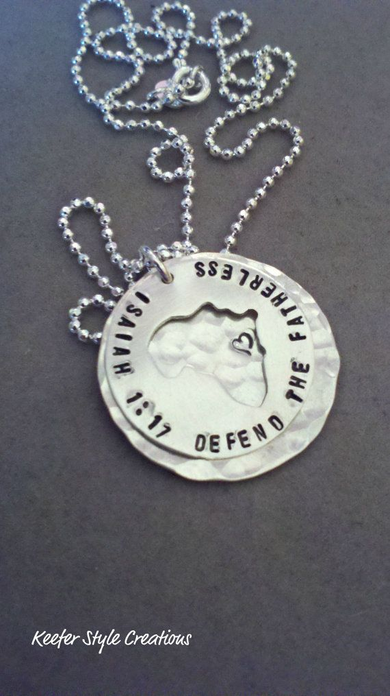 Africa cut out hammered necklaceIsaiah 117 by KeeferStyleCreations, $68.00 I wonder if they could make one with other countries. Haiti?