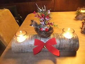 Birch-Wood-Fireplace-Log-2-Votive-Candle-Holder-Rustic-Cabin-Mantle-Decor