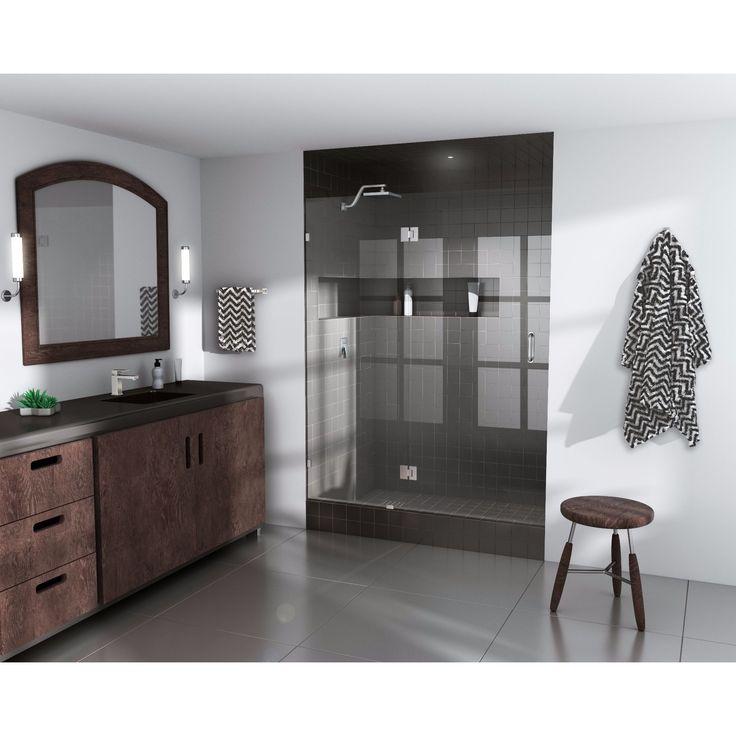 """Glass Warehouse 78"""" x 43"""" Frameless Shower Door - Glass Hinge (78 x 43"""" Frameless Shower Door - Glass Hinge), Nickel"""