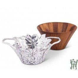 Arthur Court's Tall Magnolia Wood Salad Bowl https://www.gifts4younme.com/home/20619-arthur-court-s-tall-magnolia-wood-salad-bowl.html #bowl #gifts #wedding #saladbowl