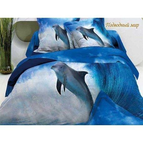 """Luxus Style-""""Delfinen"""" 3D Bettwäsche(6-Tlg) 220x240cm 100% Baumwolle-Satin Bettbezüge"""