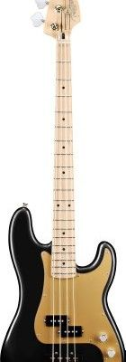 Fender-Deluxe-Active-P-Electric-Bass-Guitar-Special-Maple-Fretboard-1-Ply-Beveled-Gold-Vinyl-Pickguard-Black-0