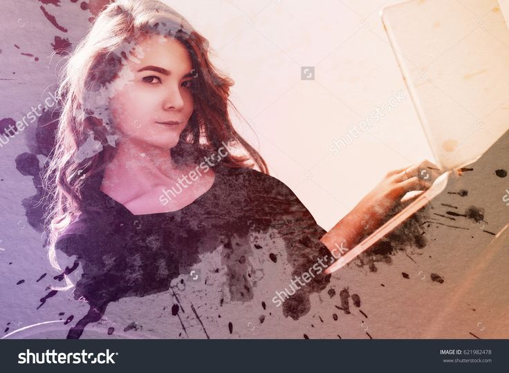 Beautiful business girl under watercolor paint. Toned image. Double exposure