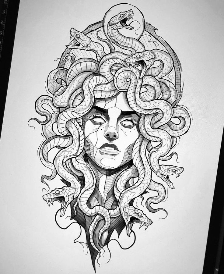 Medusa Tattoo Design, Tattoo Design Drawings, Tattoo Sketches, Drawing Sketches, Tattoo Designs, Leg Tattoos, Black Tattoos, Body Art Tattoos, Sleeve Tattoos