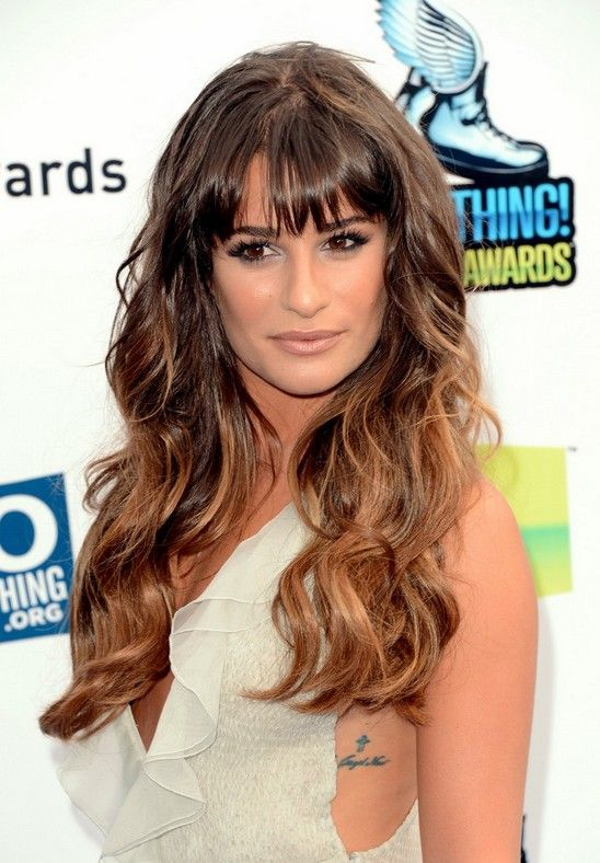 Celebrity Long Ombre Hairstyle: Wavy Hair with Bangs – Lea Michele's Long Hairstyle | Hairstyles Weekly
