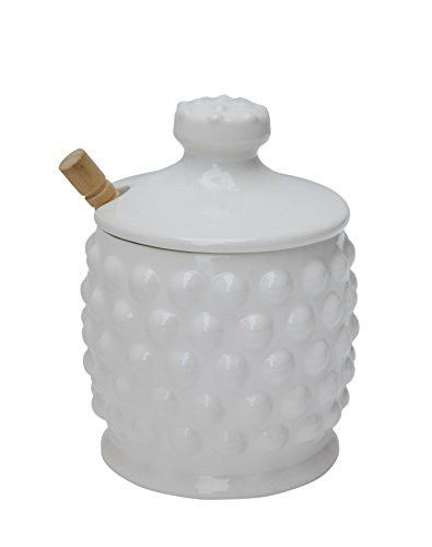 Creative Co-op Dolomite Hobnail Style Honey Jar with Wood Dipper, White