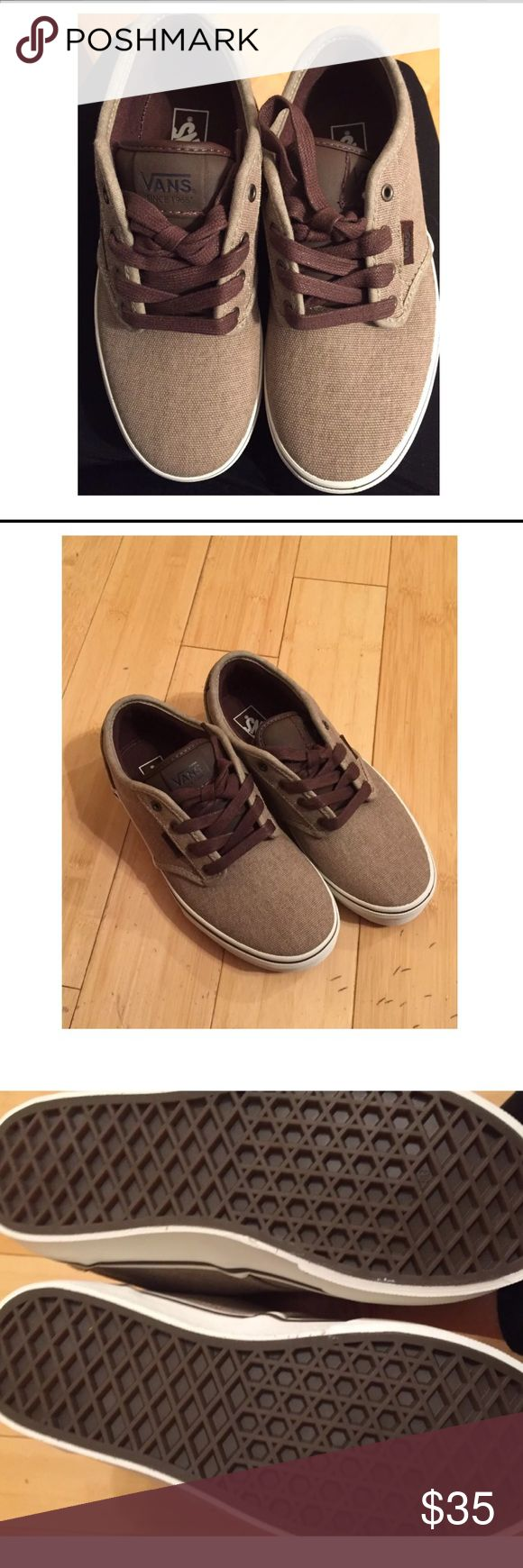 Brand new brown canvas Boys Vans size 3 Bought these at beginning of summer for an event in August and my son had a growth spurt. Threw out box to avoid clutter. Never worn. Brand new. They are brown tweed/canvas with brown leather looking tongue and brown laces. Vans Shoes Sneakers