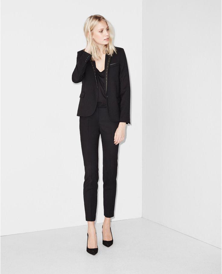 Pantalon en jacquard léopard à ceinture cloutée - Pantalons - Ventes Privées Femme - The Kooples