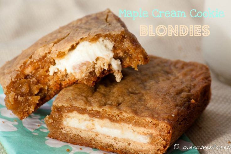 maple cream cookie blondiesDesserts Recipe, Cream Cookies, Gingers Cookies, Sandwiches Cookies, Cream Cheese, Cream Blondies, Favorite Recipe, Maple Cream, Cookies Blondies