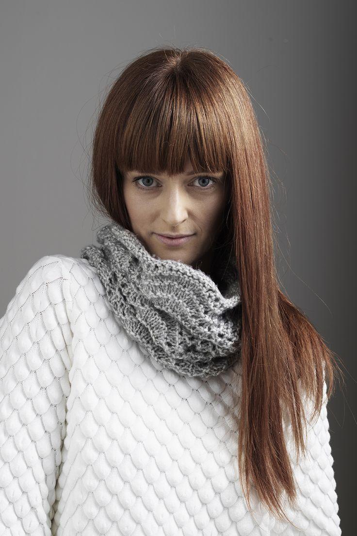 Knitted collar www.panduro.com #yarn #DIY #grey