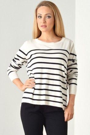 Mila Stripe S/S Pullover in Cloud Dancer