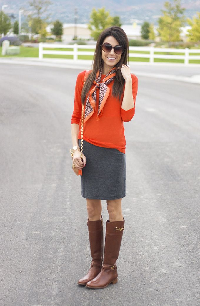 orange with gray skirt and boots closet