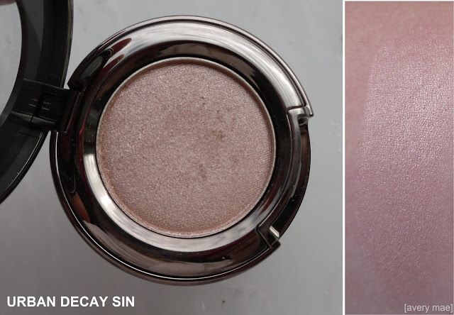 Urban Decay single eyeshadow in Sin - a pinky champagne with a silver pearl. Great all over brightening lid shade! Click over to my blog for a full review.