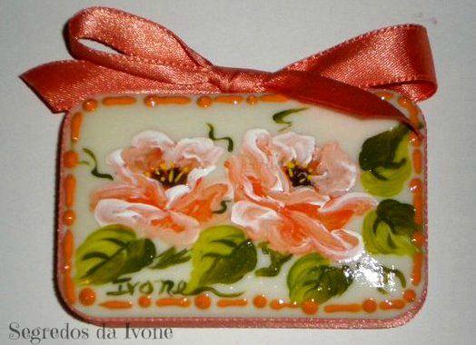 SA56-  Pintura em sabonete - motivo floral