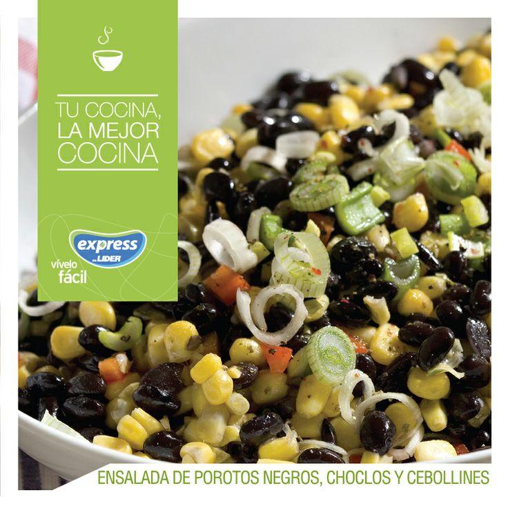 Ensalada de porotos negros, choclos y cebollines. #Recetario #Receta #RecetarioExpress #Lider #Food #Foodporn #Salad