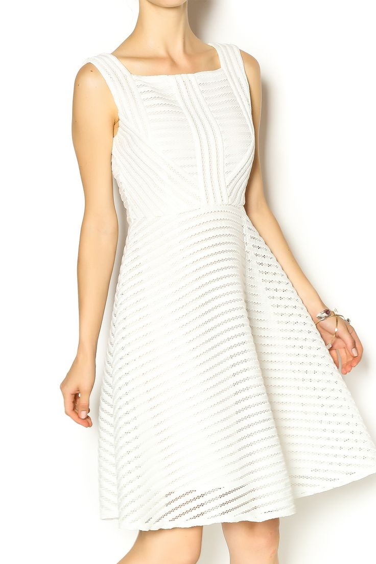 White mesh stripe dress has a symmetrical design, and is sleeveless. It is an A-line dress that is very dramatic. Pair this dress with heels for your next brunch date!    White Mesh Dress by Gracia. Clothing - Dresses - Casual Clothing - Dresses - Knee West Village, Manhattan, New York City