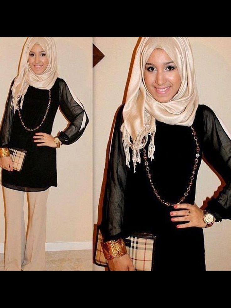 Shimmery nude hijab  (Picture taken from My Algerian Hijab Fashion)