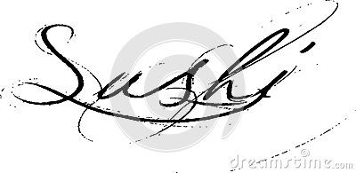 Word Sushi Abstract illustration of word sushi in black with grunge effect, white background.