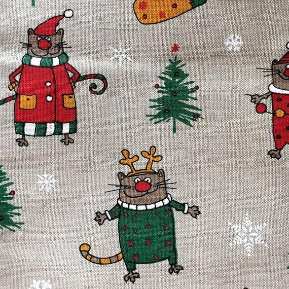 """2 Geschirrtücher Küchenhandtücher Handtucher Katzen """"Christ Cat"""" Leinen (50 x 70 cm), Geschenk"""