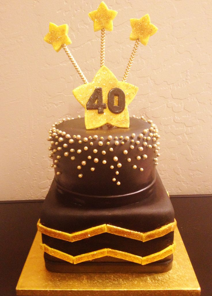40th Birthday Cake Black And Gold Cake Cakes By Denise