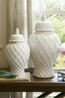 Lattice Ginger Jars - Ceramic Ginger Jars, Ceramic Jars | Soft Surroundings