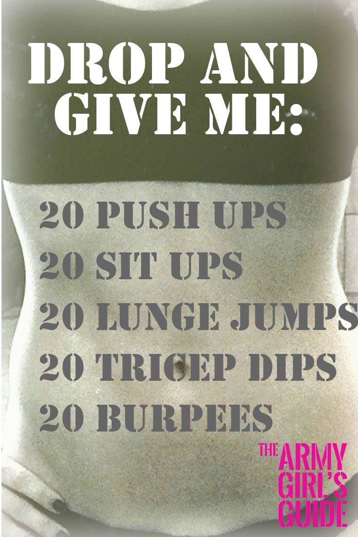 #TrainTuesday – The 'drop and give me 20' workout. An easy to do at home circuit that will get you sweaty in no time! Try it now, or pin it for later