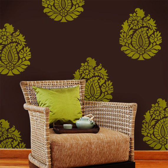 124 best decorative stencils images on pinterest wall stenciling rani paisley indian wall art stencil teraionfo