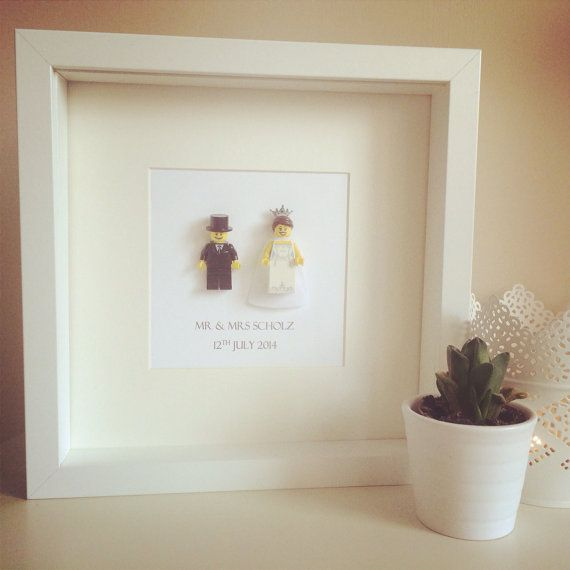 Lego Wedding Gift Mini-figure Bride & Groom Wedding Gift for couple. Personalised Frame Gift. Mr and Mrs Present Bespoke Wedding Valentines