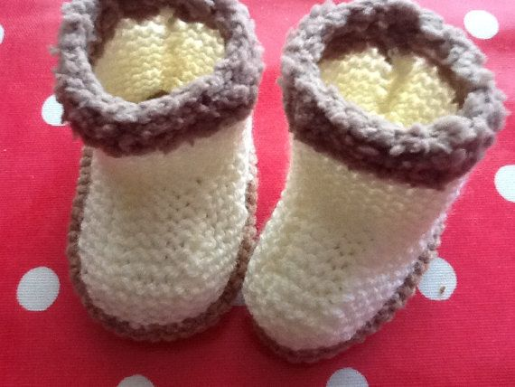 Handmade knitted booties in cream and brown by Happilyevercrafts, £4.50