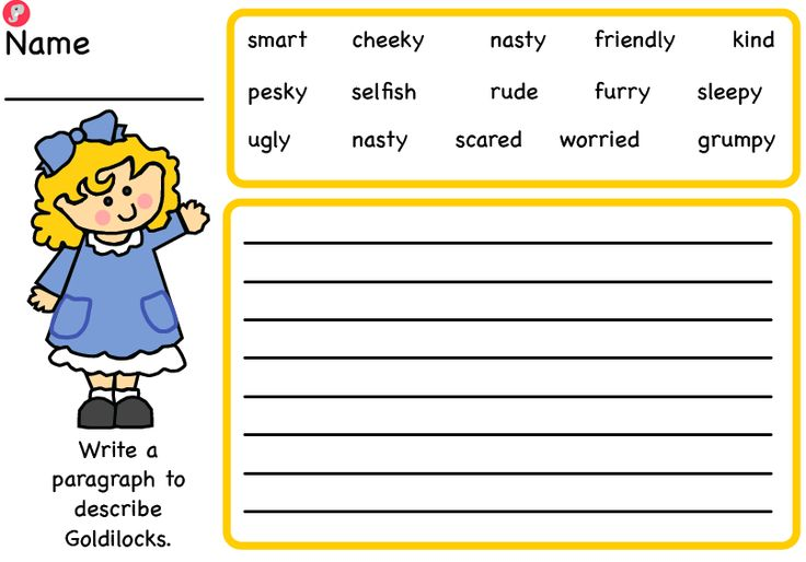 Goldilocks and the Three Bears Character Description Guided Writing Frames - A set of scaffolded worksheets providing children with vocabulary to describe the key characters from Goldilocks and the Three Bears. Both colour and black and white versions available in one download – 8 worksheets in total. Also available as part of our Goldilocks pack. More FREE resources at: www.justteachit.co.uk