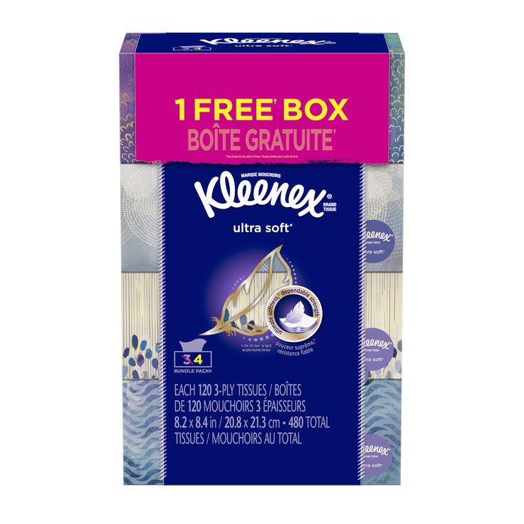 Kleenex Facial Tissues, Ultra Soft & Strong, 120 Sheets, Pack of 4 (Designs May Vary)