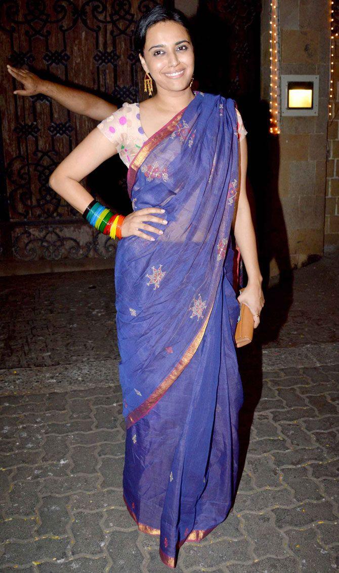 Swara Bhaskar at Anil Kapoor's #Diwali bash. #Bollywood #Fashion #Style #Beauty #Desi #Saree
