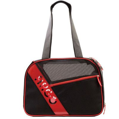 Teafco Argo City-Pet Medium Airline Approved Pet Carrier in Black with Red Trim | Wayfair