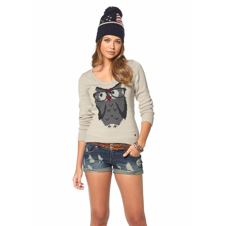 Pull col V manches longues motif hiboufemme AJC