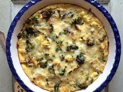 Roasted broccoli and cauliflower crustless quiche