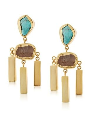 65% OFF Zariin Frosted Mist Turquoise & Rose Quartz Earrings
