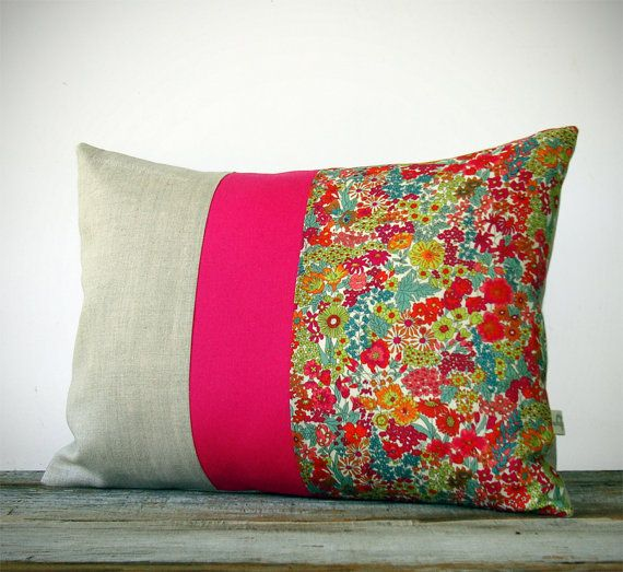Bright Floral Liberty Print Pillow - Hot Pink Stripe - Summer Home Decor by JillianReneDecor - Margaret Annie - Neon
