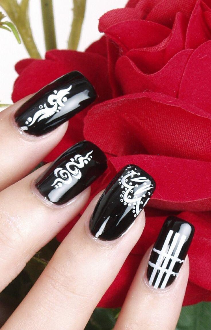 best nailsblack u white images on pinterest pretty nails