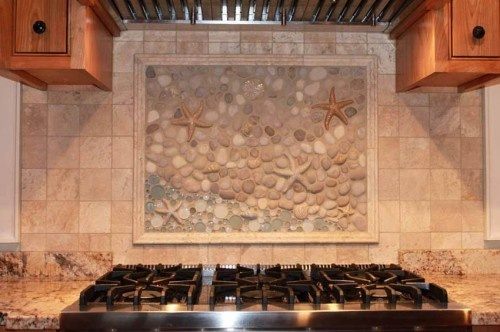 An eclectic custom kitchen backsplash mural done by wet for Custom mural tiles